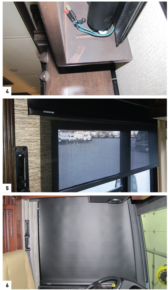 [4] Cable ties are often used to keep the Learning Keys from hanging below the valance. [5] Clearview Solar Screen fabric day shades can easily be seen through from the interior yet still provide privacy. [6] Sway shades offer full coverage of raked cockpit windows.