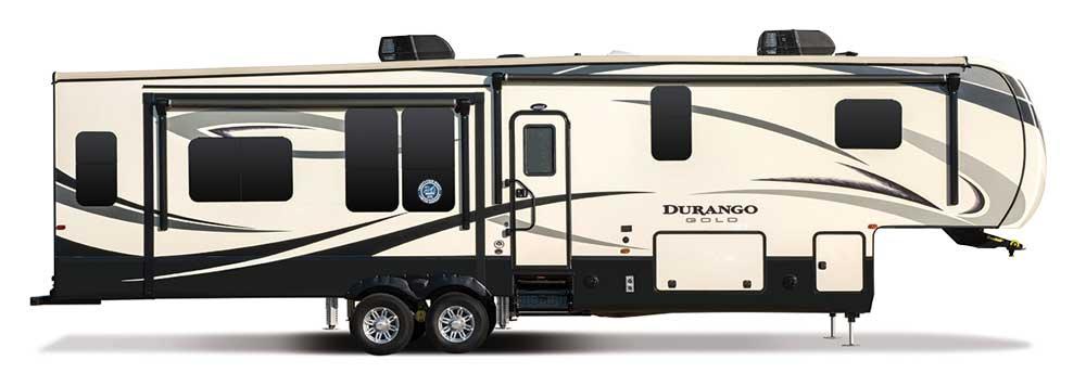 Large fifth wheel Durango RV on white background