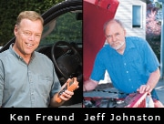 Side by side image of two men, Ken Freund and Jeff Johnston, standing near trucks