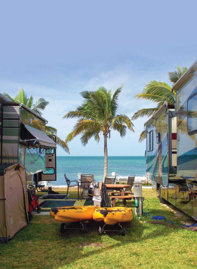 Key Campgrounds The Lower Keys offer dozens of campgrounds within an hour's drive of Key West. Jolly Roger RV Resort (www.jrtp.com), rated 7.5/10*/8 by the Good Sam RV Travel & Savings Guide, offers more than 160 full-hookup sites across 11 acres. Plan and reserve early, as spots for the winter season fill up as much as a year in advance.