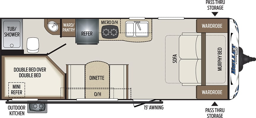 Floorplan showing location of Murphy bed up front and bunks in the rear