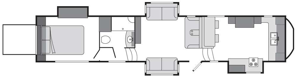 Keystone-Raptor-427 Fifth Wheel toy hauler floorplan