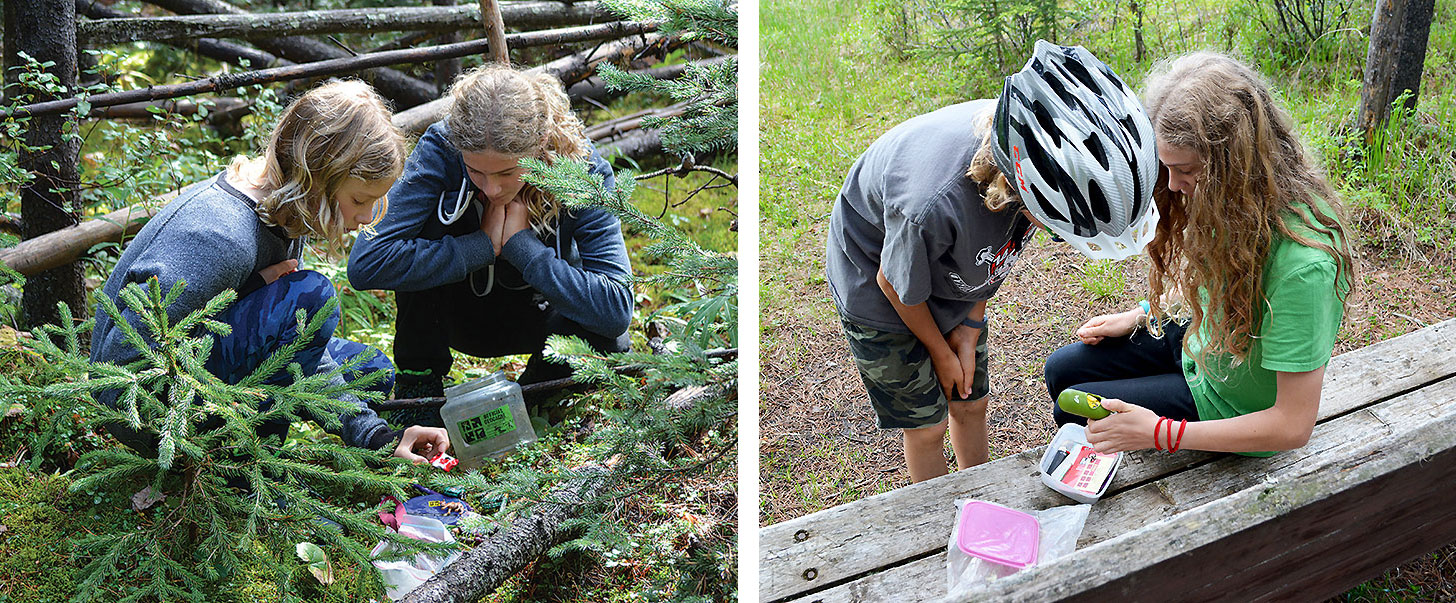 Side by side photos of two children finding geocaches.