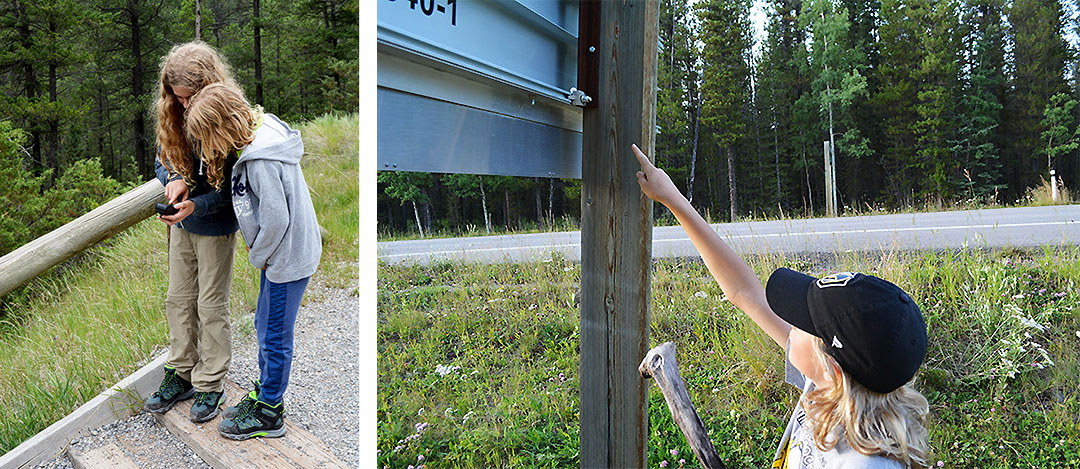 Two children looking at a GPS, and a boy points to a geocache.