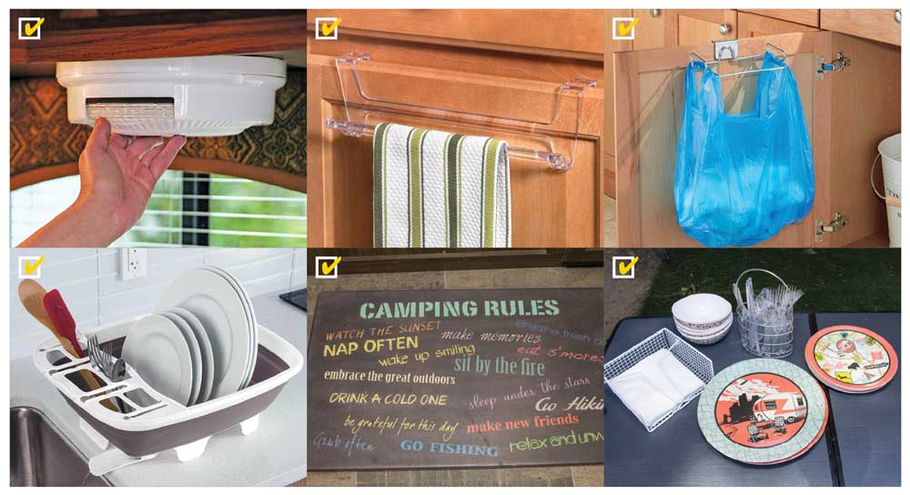 Montage of RV kitchen gadets: dish-towel rack, anti-fatigue mat, collapsible dish drainer, folding trash-bag holder, under- the-cabinet paper-plate dispenser, over-the-cabinet plastic-bag holder, sponge cradle, wire caddies for napkins and plastic utensils