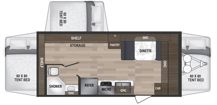 Floorplan drawing showing three tent beds and positions of bathroom and kitchen features.