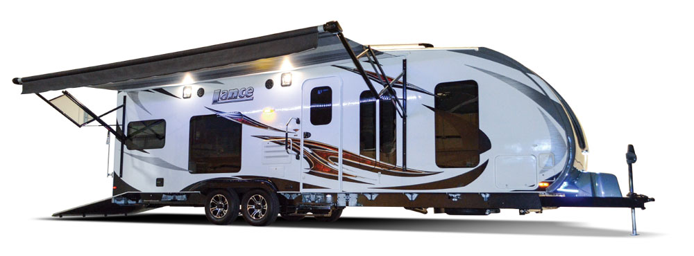 Lance fifth wheel trailer with awning out and accent lighting