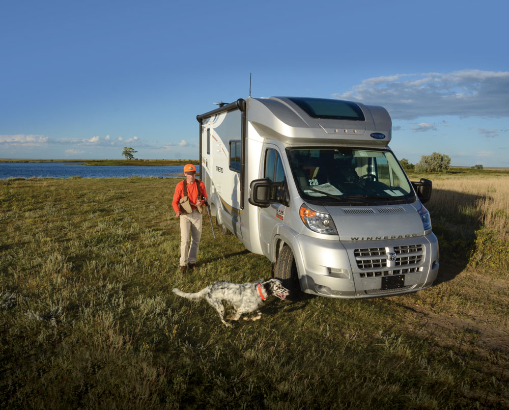 With a sensible selection of locations, any standard RV, like this Class C Winnebago Trend, can be used for hunting.