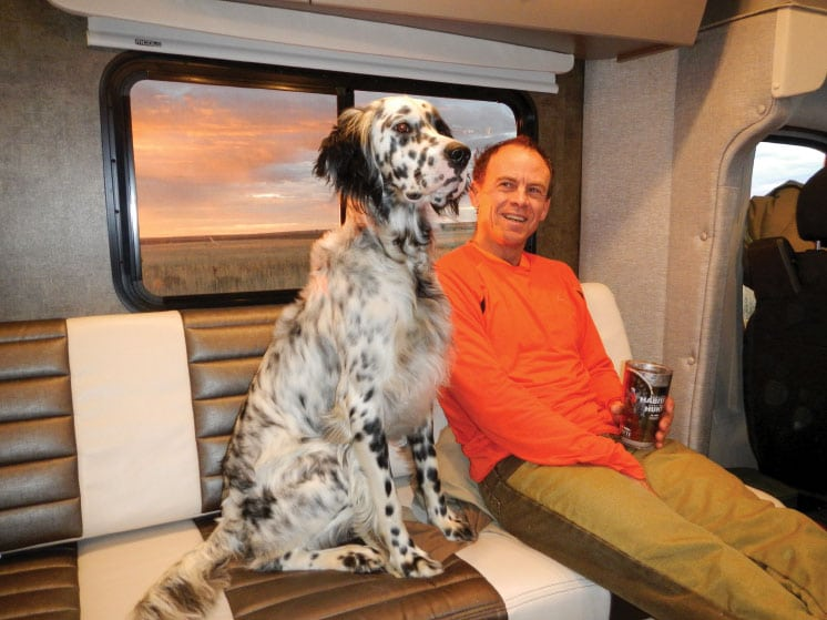 The climate-controlled interior of an RV provides protection from heat during warm conditions and warmth during chilly times, for hunters and bird dogs alike.