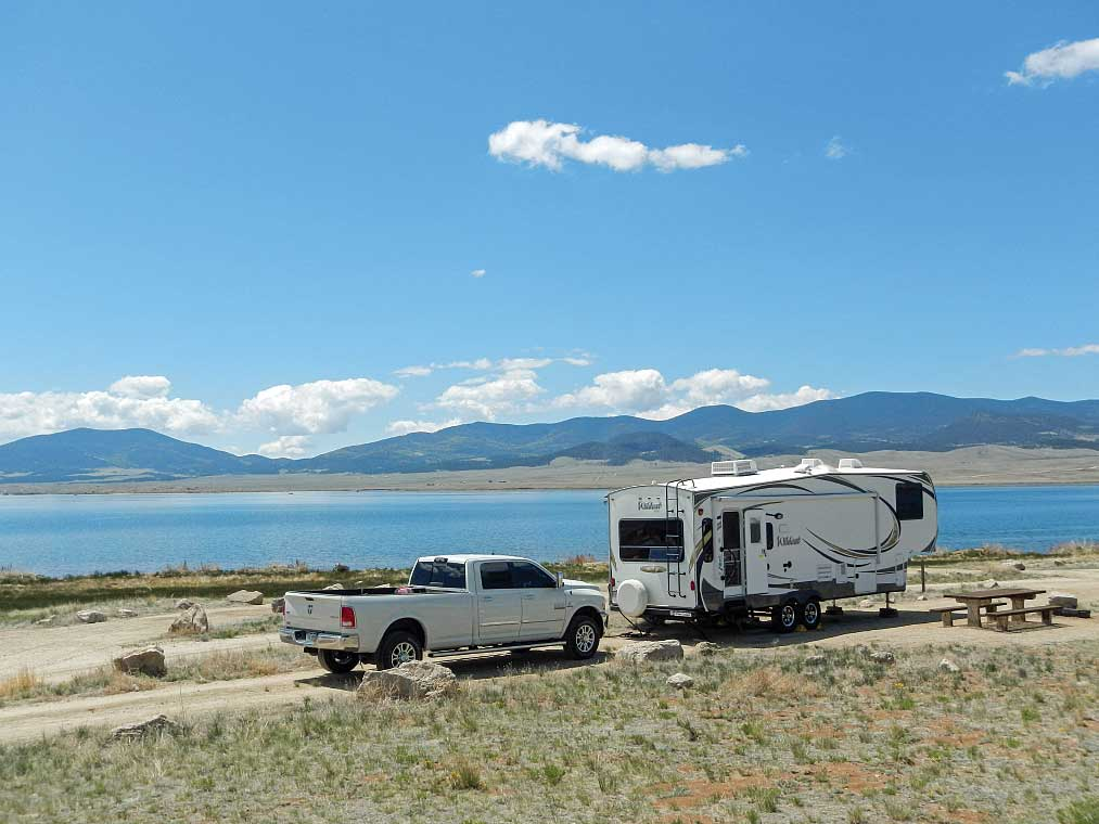 Beachfront camping at Eleven Mile Reservoir comes with a delightful Rocky Mountain view.