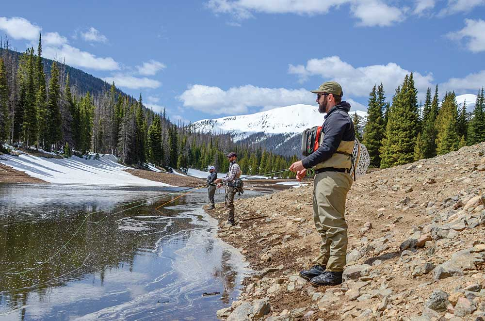 Fishing for Arctic grayling from the alpine shoreline of 150-acre Joe Wright Reservoir near the top of 10,276-foot Cameron Pass.