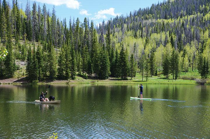 SUP and kayaker on Pearl Lake, Colorado
