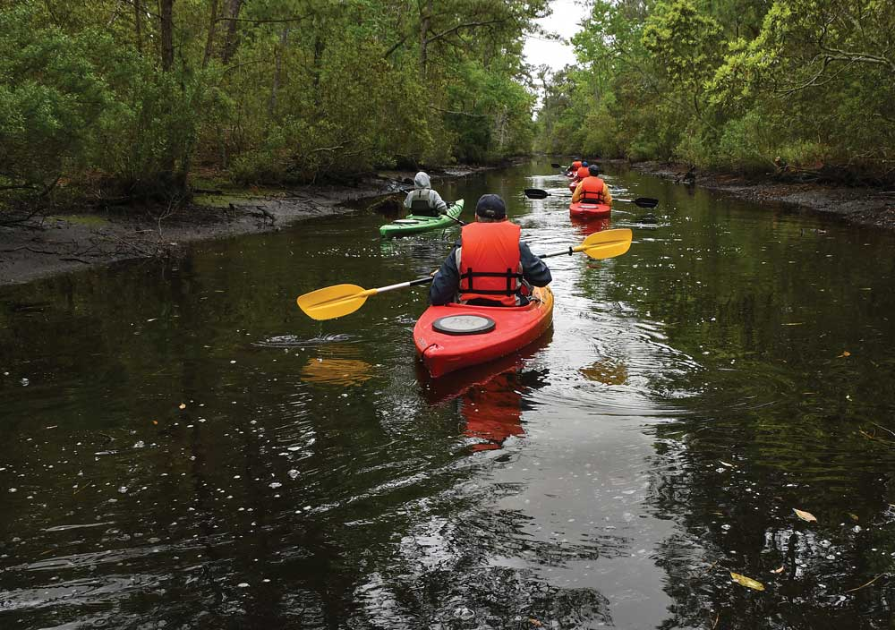 Kayakers paddle through Kitty Hawk Woods Coastal Reserve