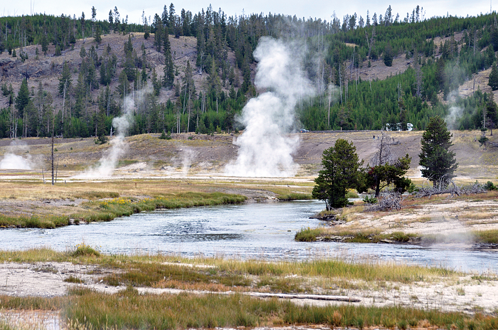 Geysers, fumaroles, hot springs and other geothermal features are common throughout Yellowstone National Park, and many are visible from the road.