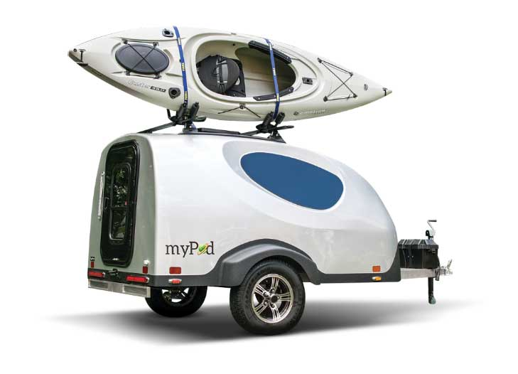 Little Guy MyPod exterior with kayak mounted on top