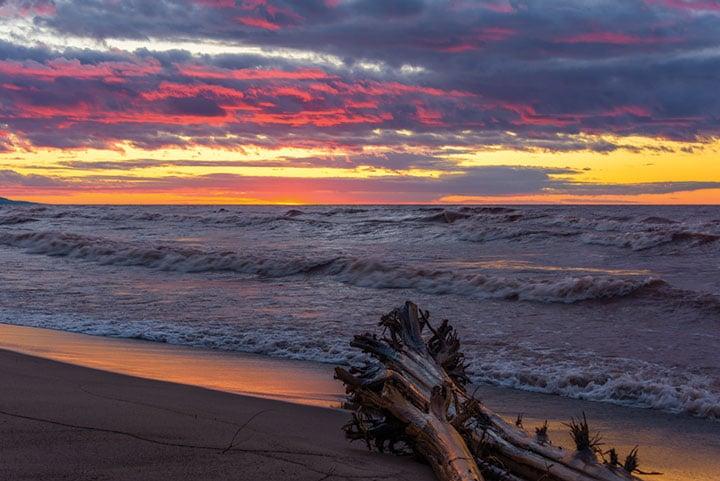 Sunset over Lake Superior in Ontonagon, MIchigan