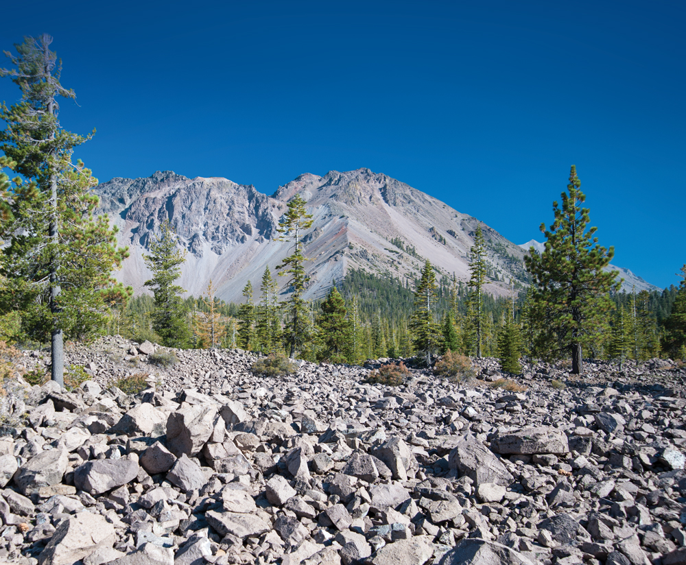 he rubble at the base of  Lassen Peak is a remnant of volcanic eruptions.