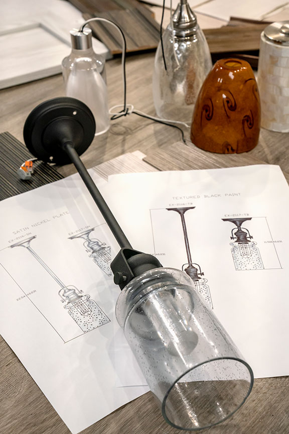 Design sketches of pendant light for Jayco RV