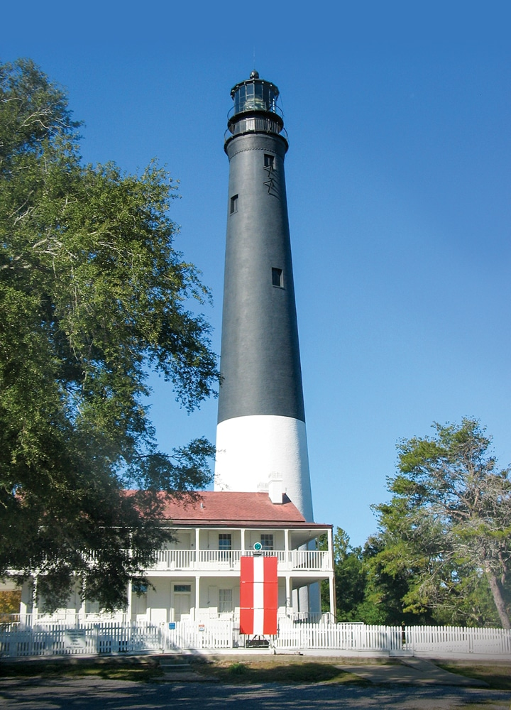 Visitors to Pensacola Lighthouse and Museum, originally built in 1859, climb 177 steps to the top for sweeping coastal views.