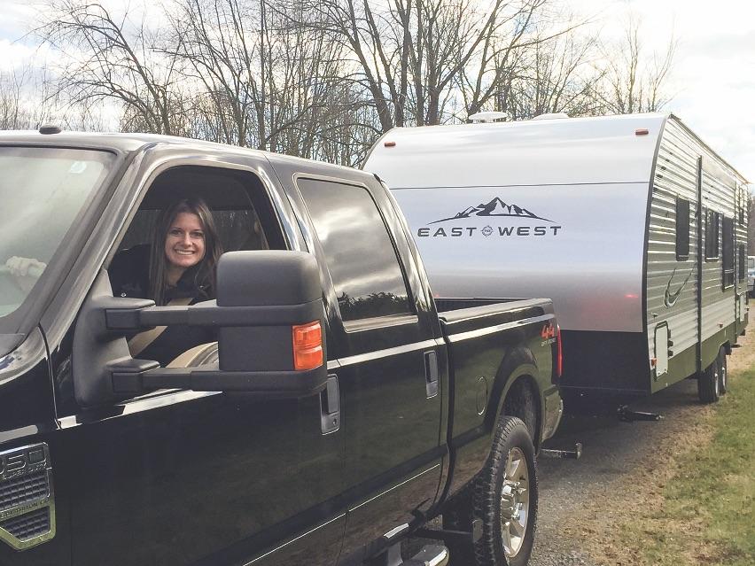 Lisa Liegl Rees in Truck Towing Camper