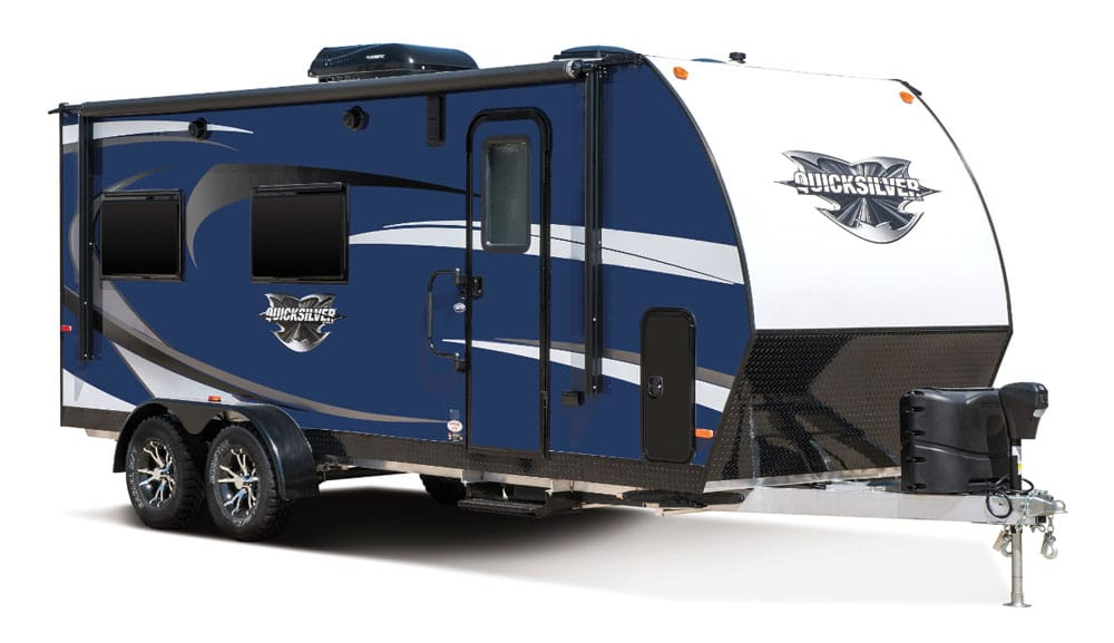 Navy blue Livin' Lite QuickSilver travel trailer