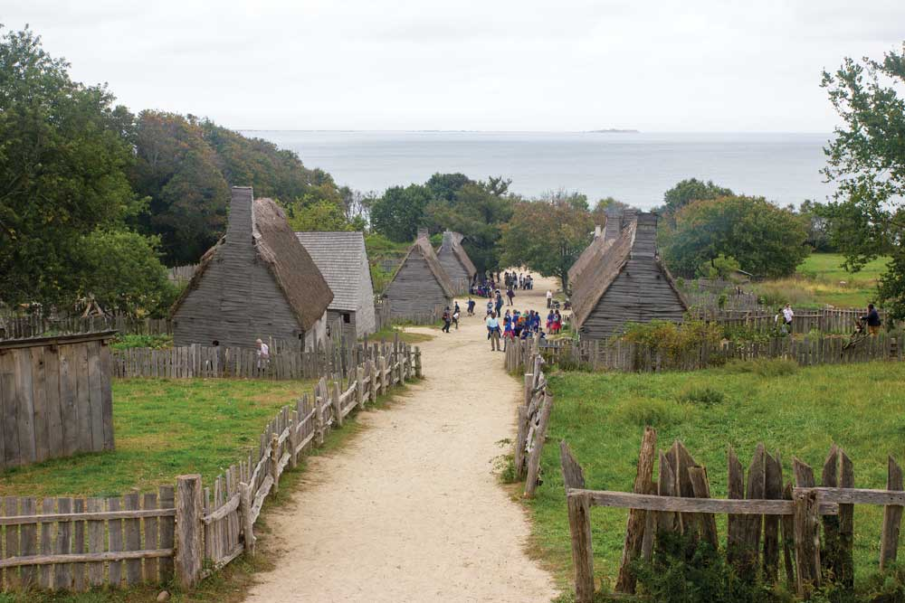 The 17th-century English Village, a re-creation of the community built by the Pilgrims along the shore of Plymouth Harbor.