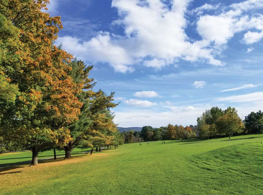 Trees and a fairway at the Cranwell Resort in Lenox