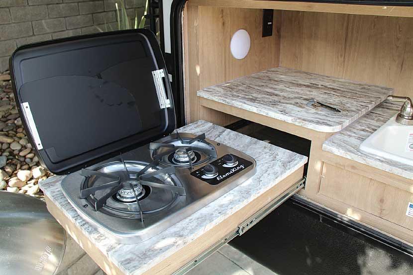 Photo of Winnebago Minnie Plus 29RBH fifth wheel trailer interior, outdoor kitchen