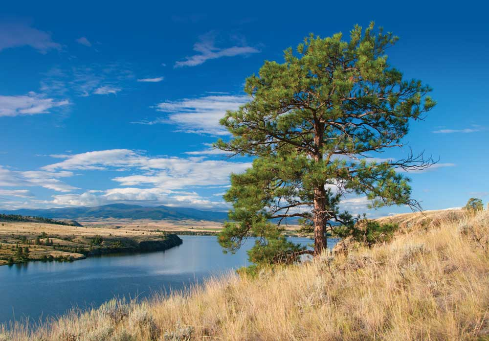 Unspoiled views of Hauser Lake are breathtaking from Two Camps Vista along the Lewis and Clark National Historic Trail in Montana.