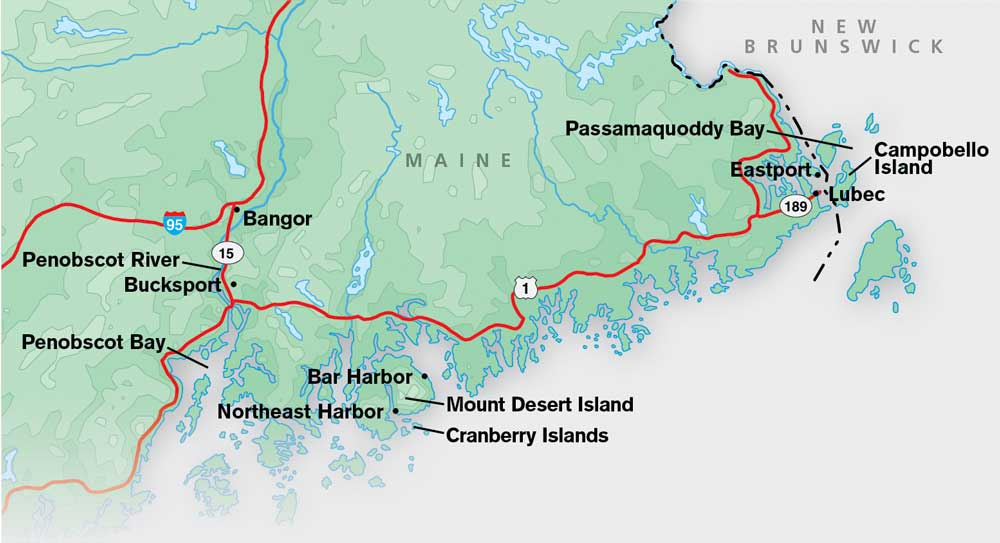 Map of eastern Maine