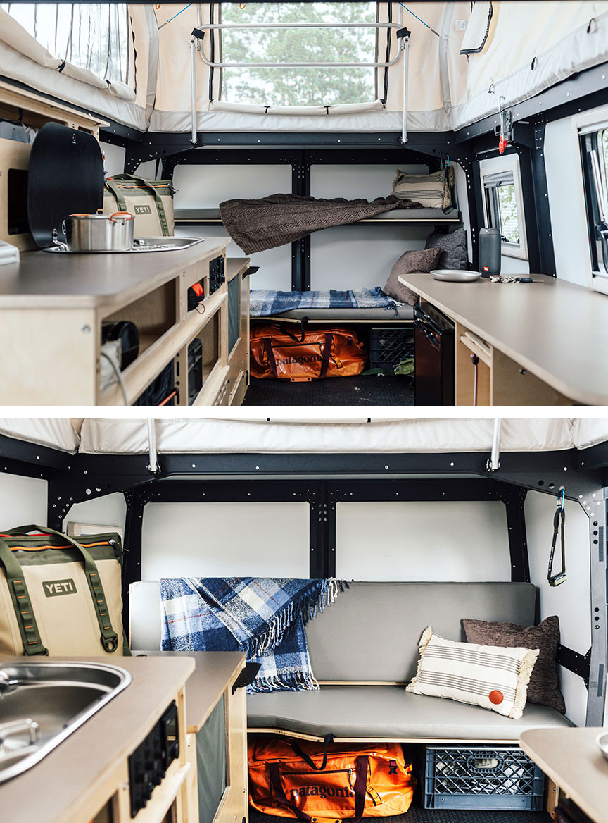 Two views of bunks for sleeping and for lounging.