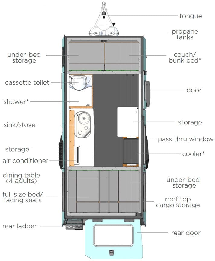 Floorplan illustration of Mantis trailer