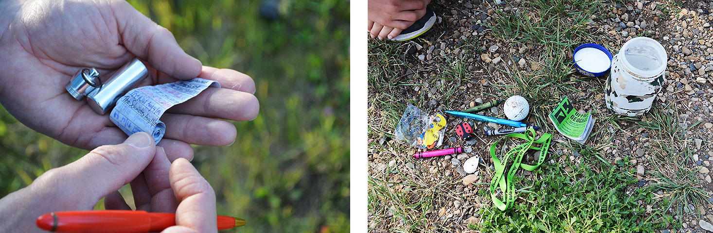 Photos of a micro geocache and a larger canister filled with treasures.