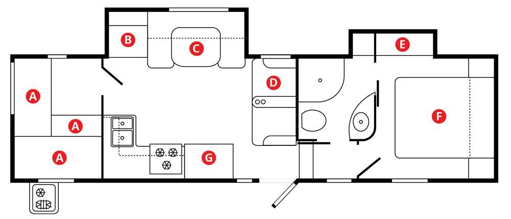 Winnebago Minnie Plus 29RBH fifth wheel trailer floorplan