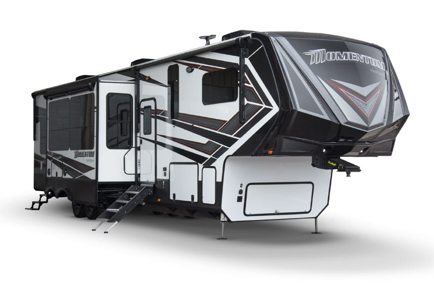 Grand Design Momentum fifth wheel with stairs down