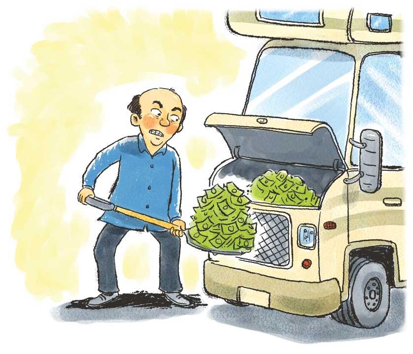 Illustration of man shoveling money into his motorhome