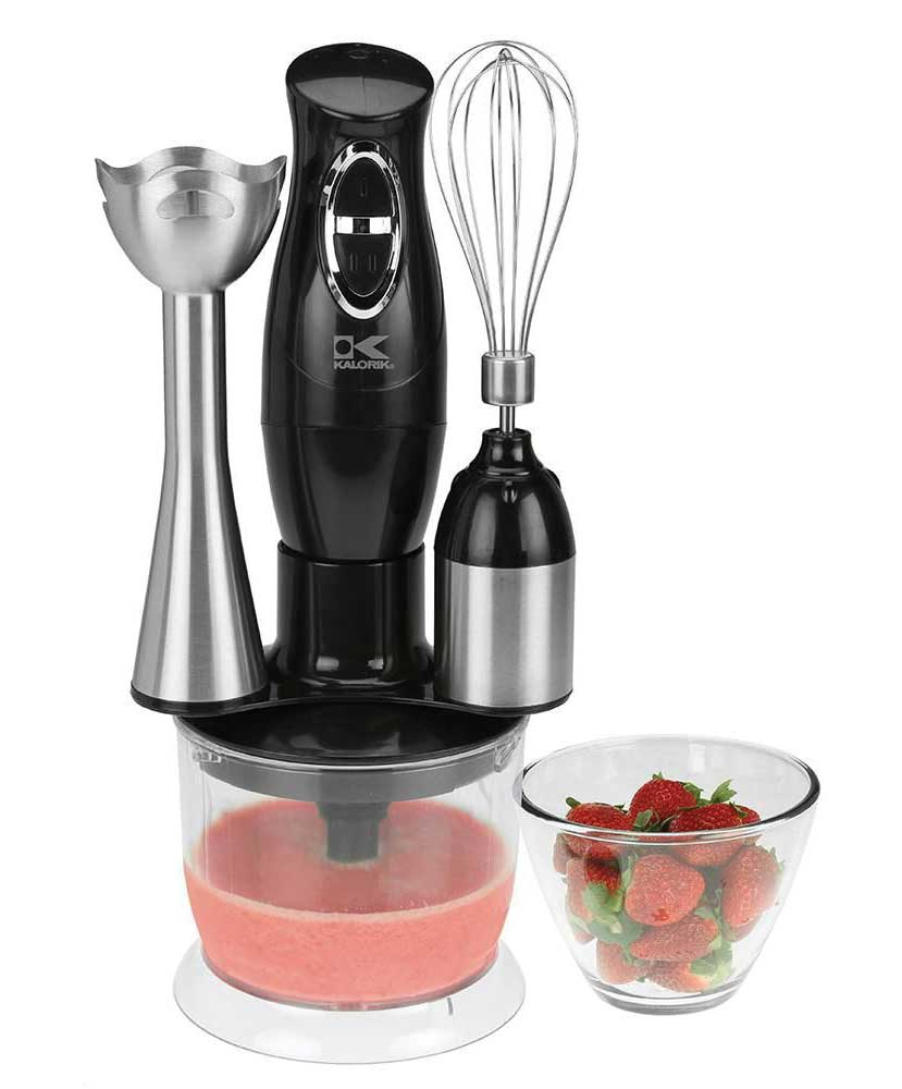Handheld immersion blender with an assortment of attachments