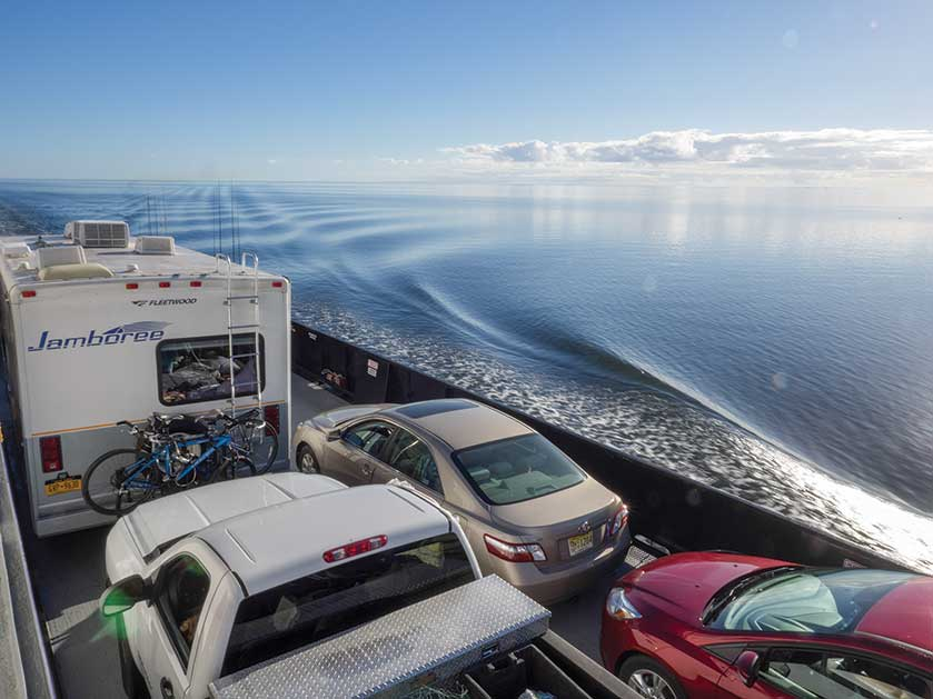 The ferry from Ocracoke to Cedar Island accommodates motorhomes with ease.