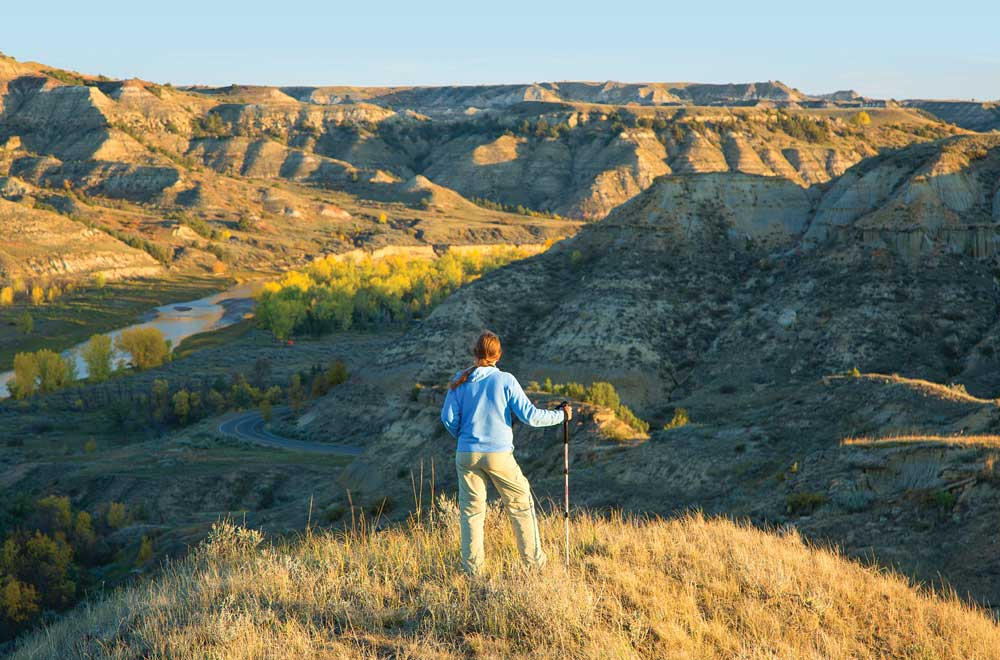 Vast prairie grassland in the South Unit includes this bluff overlooking the Little Missouri River.