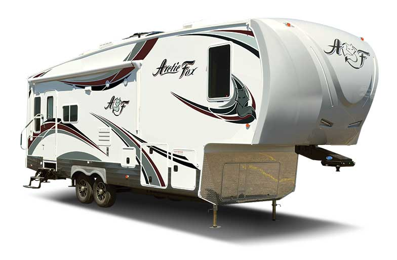 White Arctic Fox fifth wheel motorhome with white background