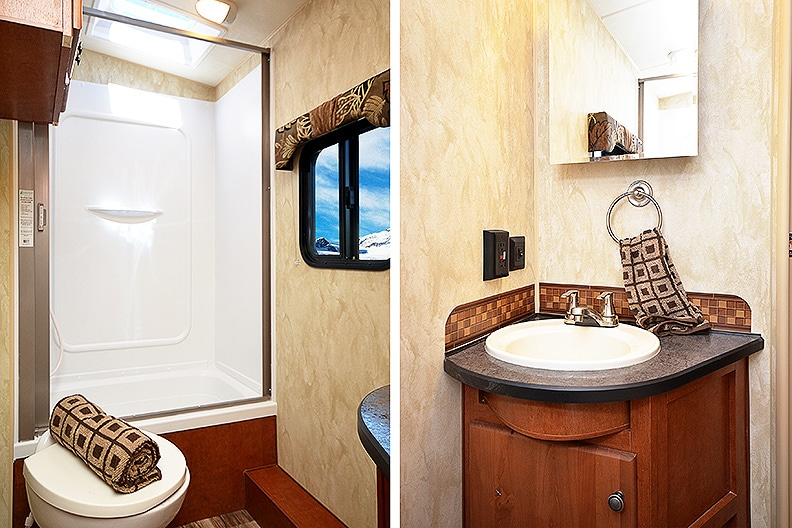Side by side photos showing the tub/shower on one side and sink/vanity on the other.