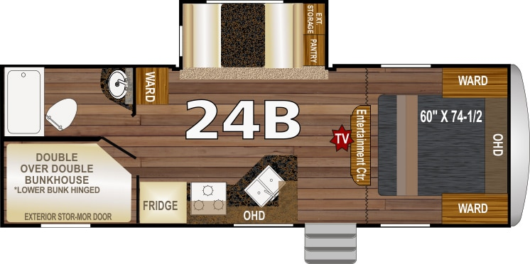 Floorplan showing slideout, beds and other features