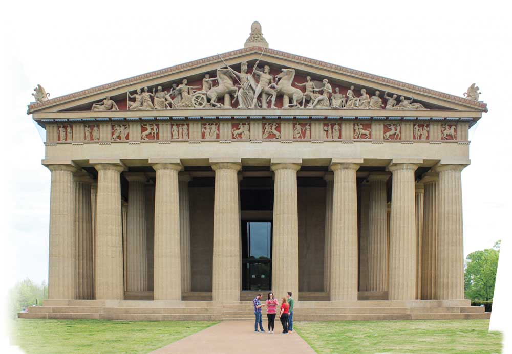 """Known as the """"Athens of the South,"""" Nashville also is home to a full-scale replica of the famous Parthenon."""