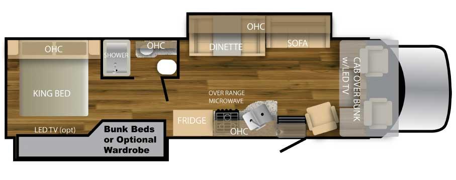 Nexus Triumph bunkhouse motorhome floorplan