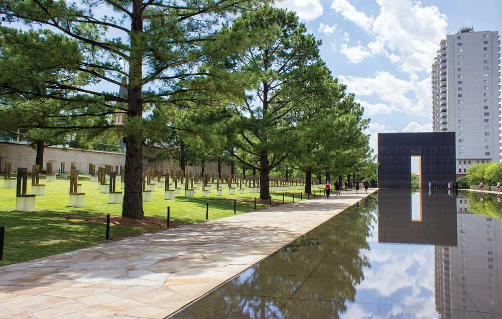 The Field of Empty Chairs at the Oklahoma City National Memorial and Museum honors the 168 people killed in the bombing of the Alfred P. Murrah Federal Building on April 19, 1995.