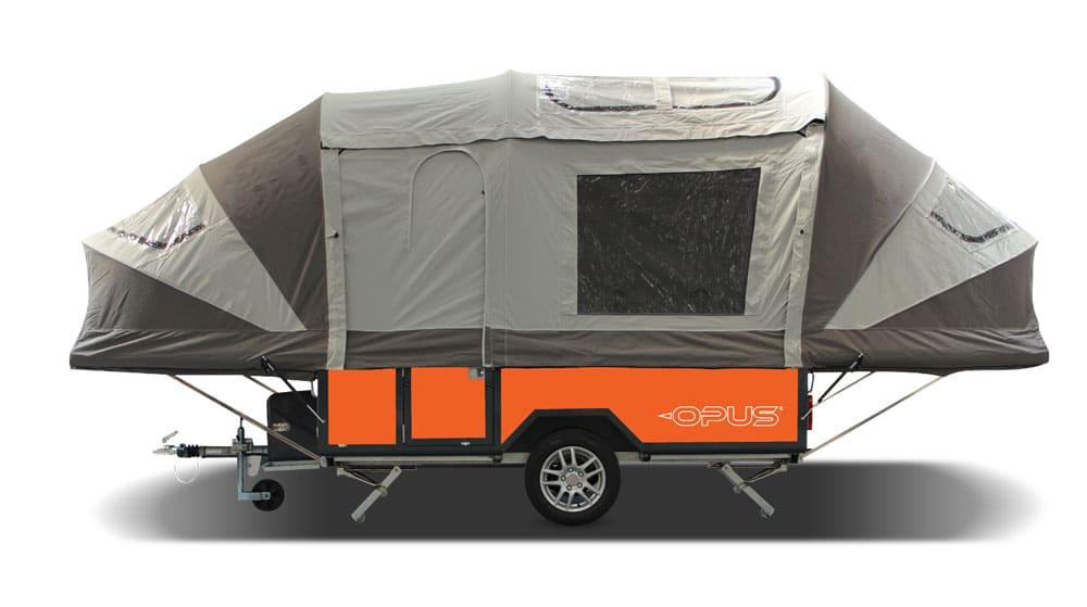 Orange Purple Line OPUS travel trailer with covering