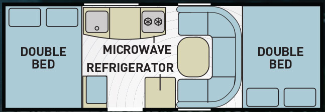 Blue and green designed RV layout