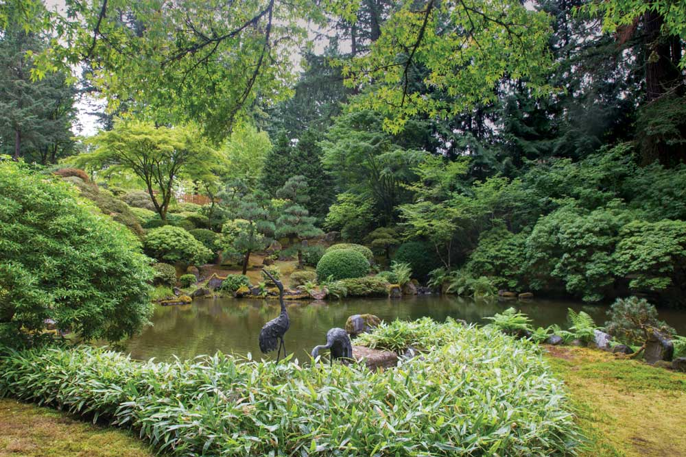 The perfectly groomed Japanese Gardens in Portland, Oregon