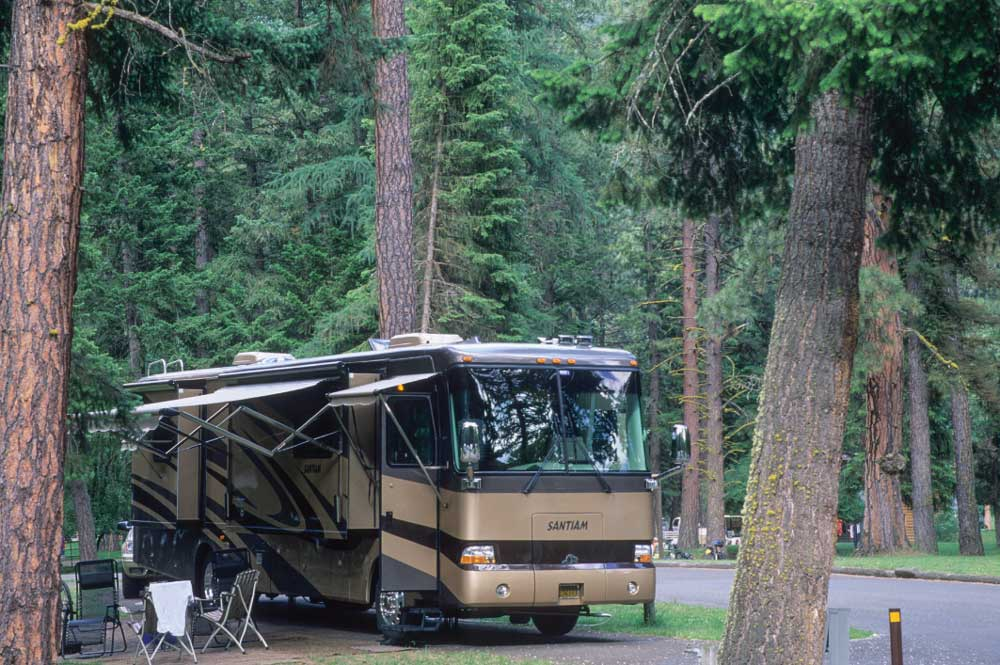 Wallowa Lake State Park offers 121 full-hookup sites (36 of which are pull-through) and a dump station.