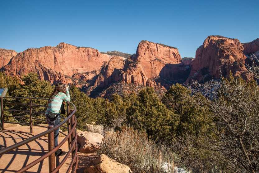 Kolob Canyons Viewpoint is located in the northern, quieter section of the park and can be accessed via a 5-mile scenic drive along Kolob Canyons Road.